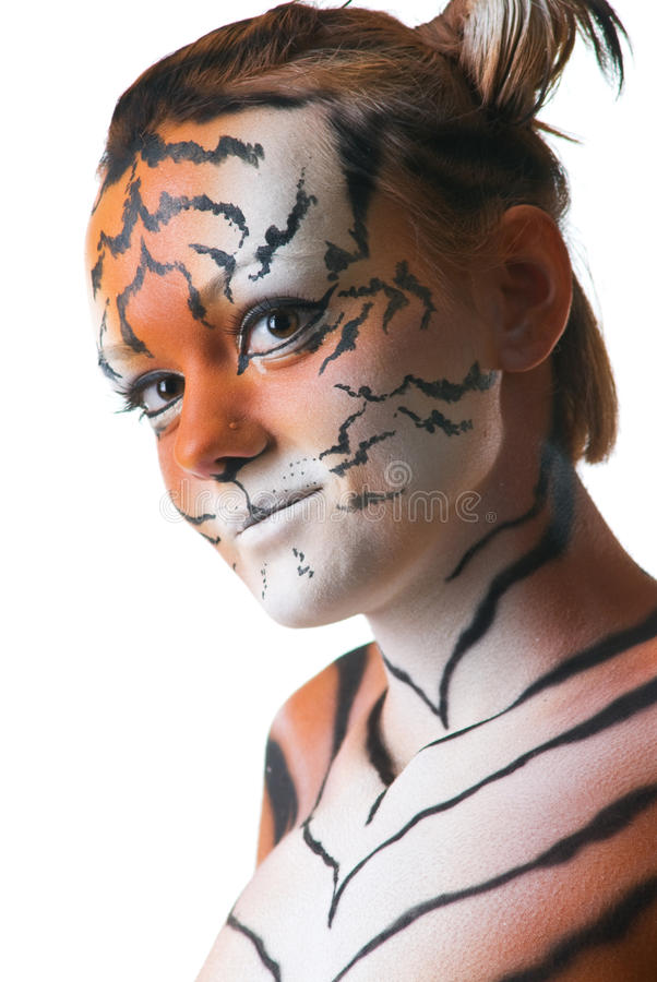 Portrait of woman-tiger. On white background royalty free stock images