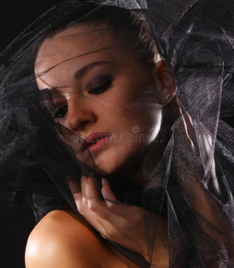 Portrait Of Woman In Veil Stock Photo
