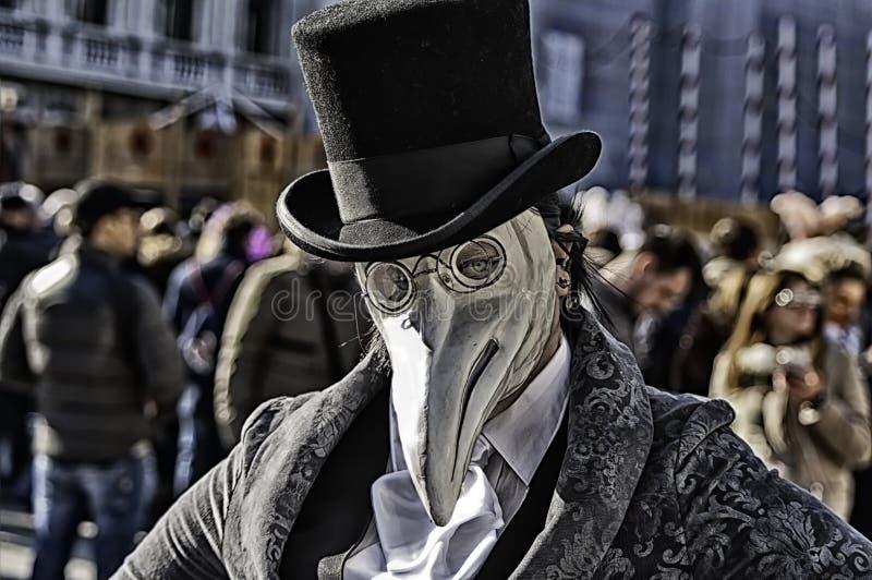 Venetian plague doctor mask stock photo