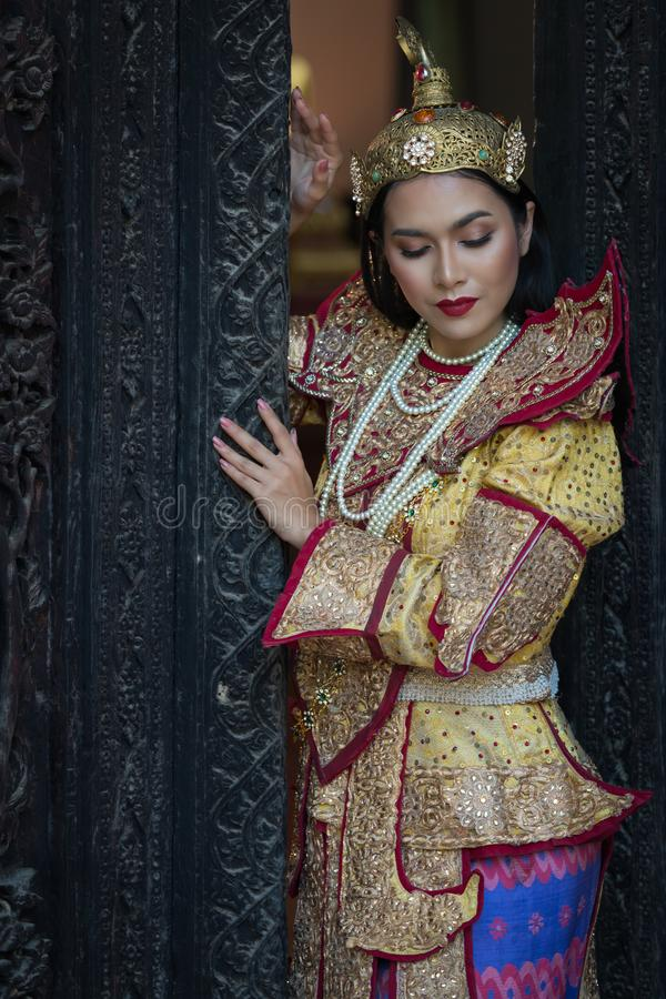Portrait women in myanmar traditional costumes stock photography