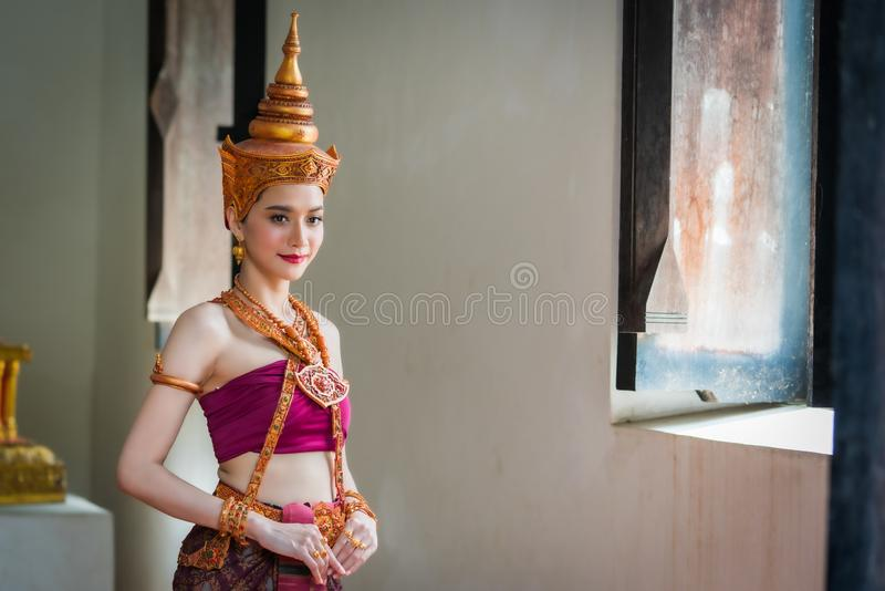 Portrait women in thai traditional costumes stock images