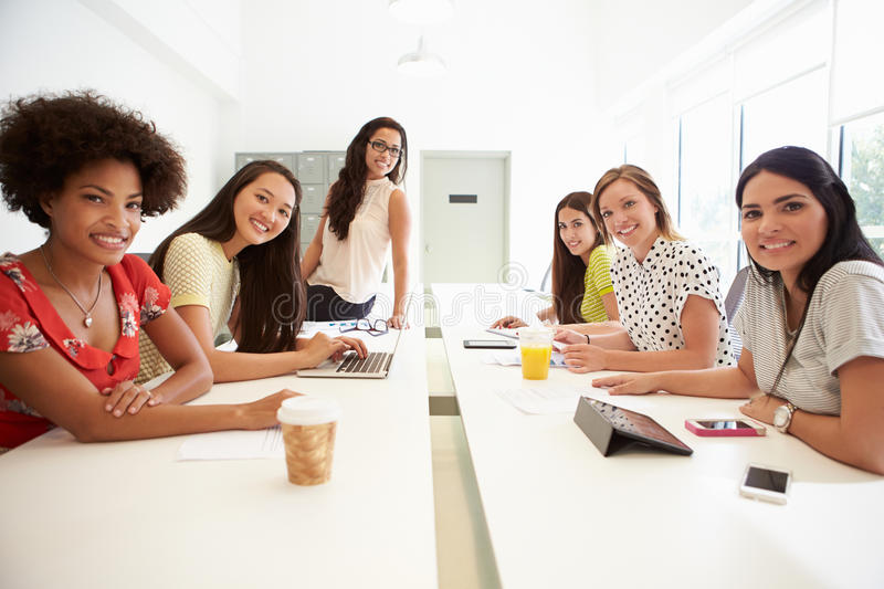 Portrait Of Women Working Together In Design Studio stock photos