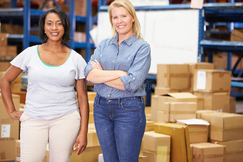 Portrait Of Workers In Distribution Warehouse royalty free stock image