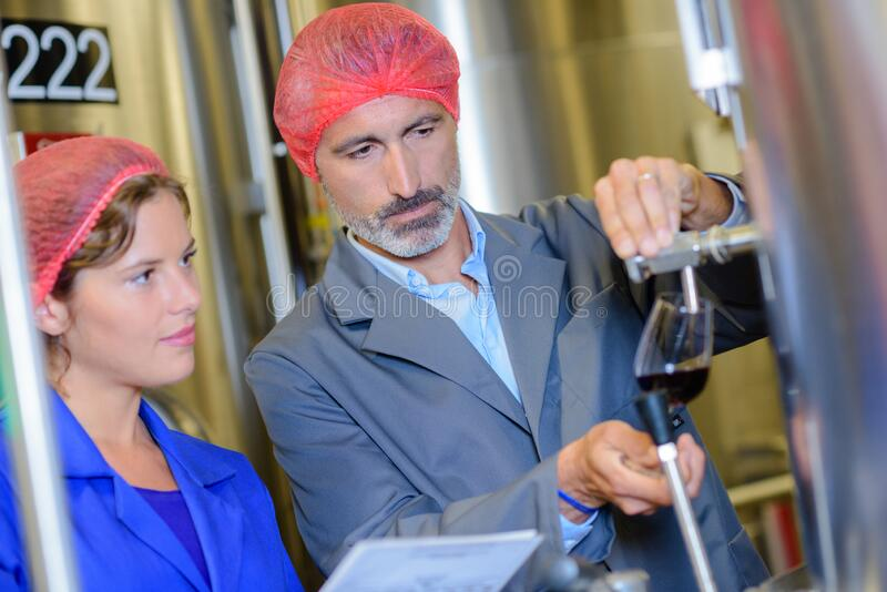 Portrait workers pouring liquid royalty free stock photo