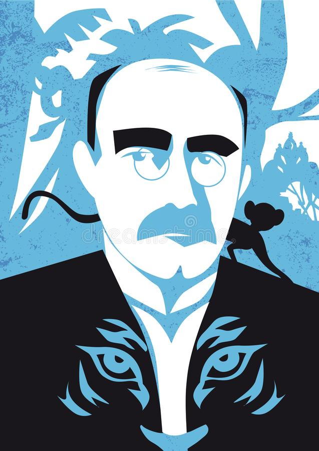 Portrait of writer Rudyard Kipling, vector illustration royalty free illustration