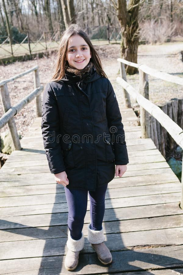 Portrait of 10 year old girl outdoors royalty free stock image