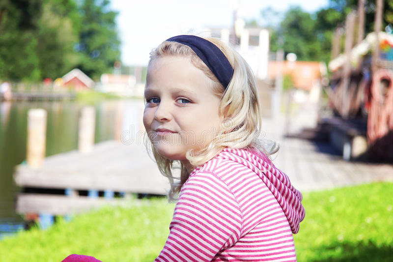 Portrait of 8 year old girl stock photography