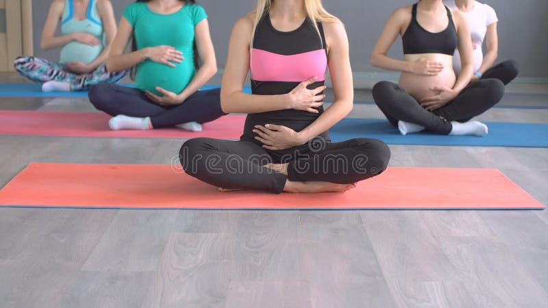 Portrait yoga de pratique en matière du ` s de trois de jeune femmes enceintes images stock
