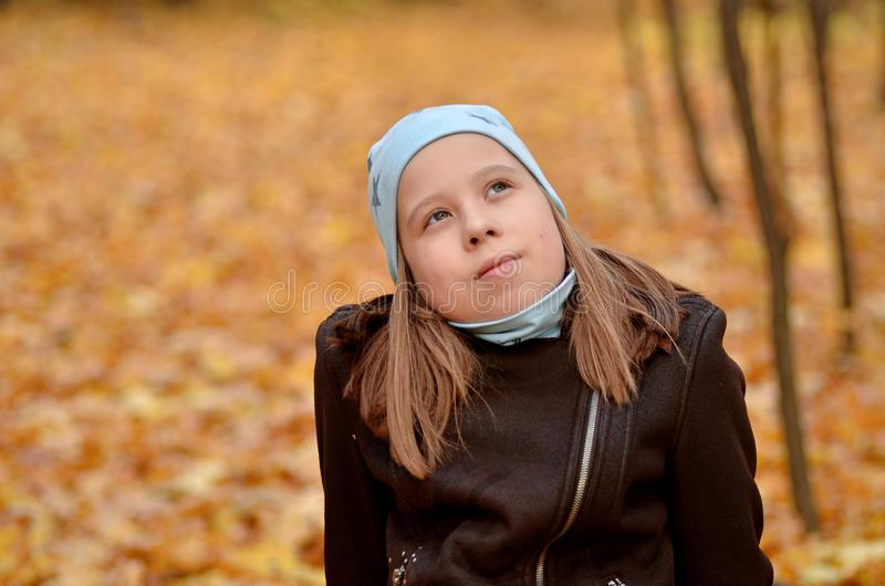 Portrait of a yong girl in the autumn season stock image