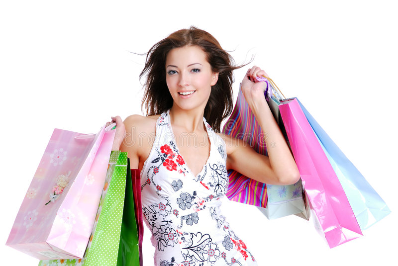 Download Portrait Young Adult Girl With Colored Bags Stock Photo - Image: 7694282