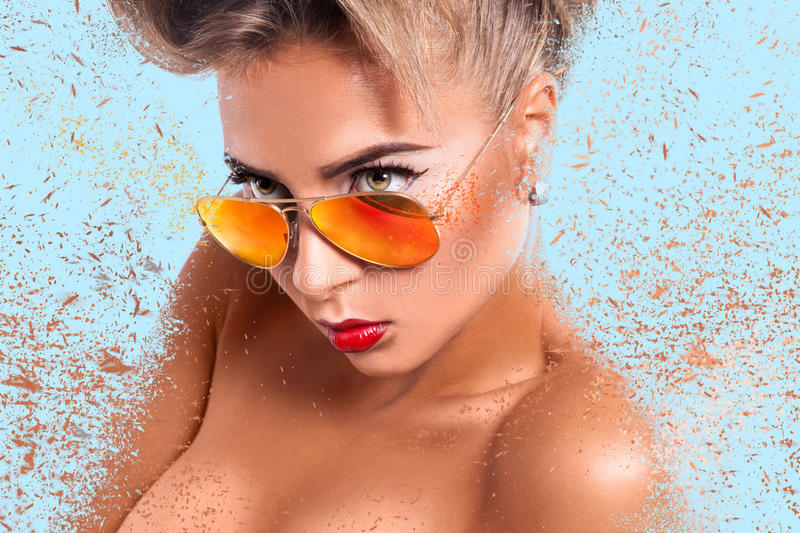 Portrait of young adult woman in sunglasses stock photos