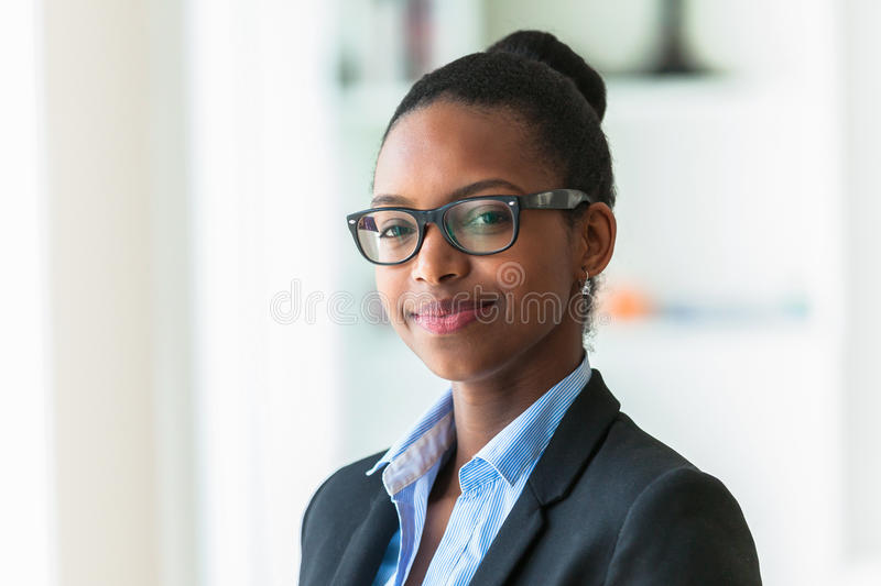 Portrait of a young African American business woman - Black people stock image