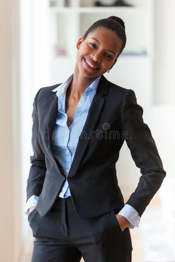 Portrait of a young African American business woman - Black people royalty free stock photography
