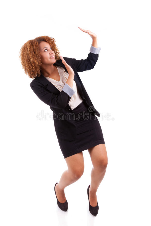 Portrait of a young african american business woman making a pro royalty free stock photo