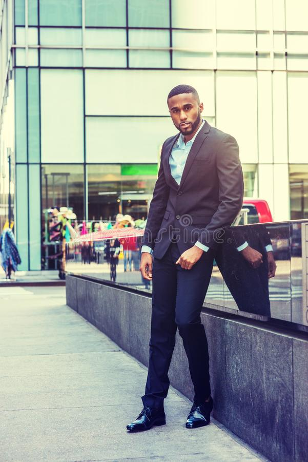 Portrait of Young African American Businessman in New York stock photography