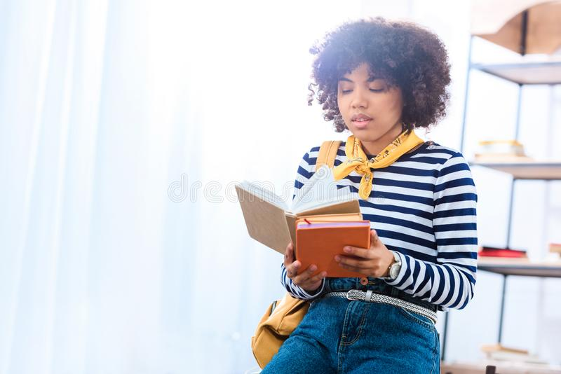 portrait of young african american student with books royalty free stock image