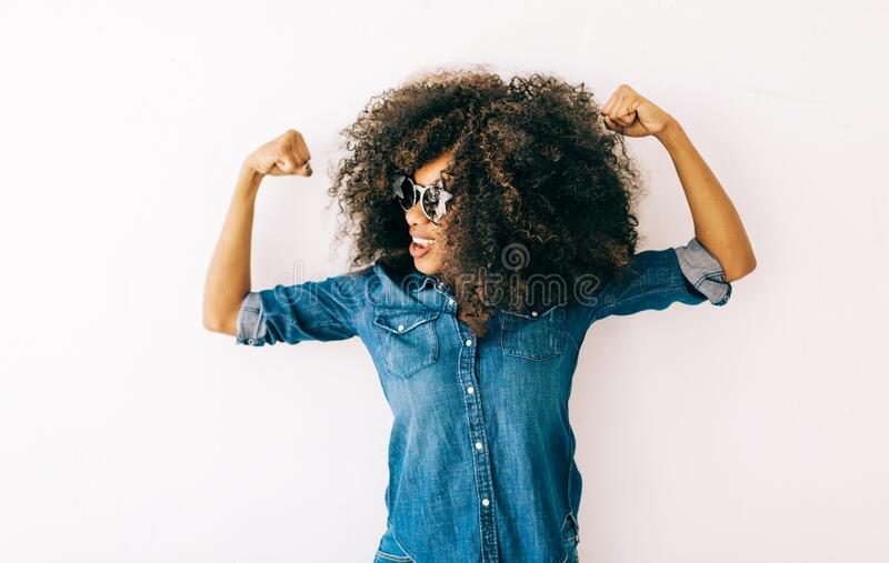 Portrait of young african american woman stock image
