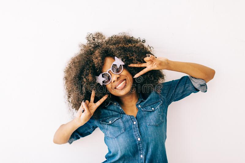 Portrait of young african american woman stock photo
