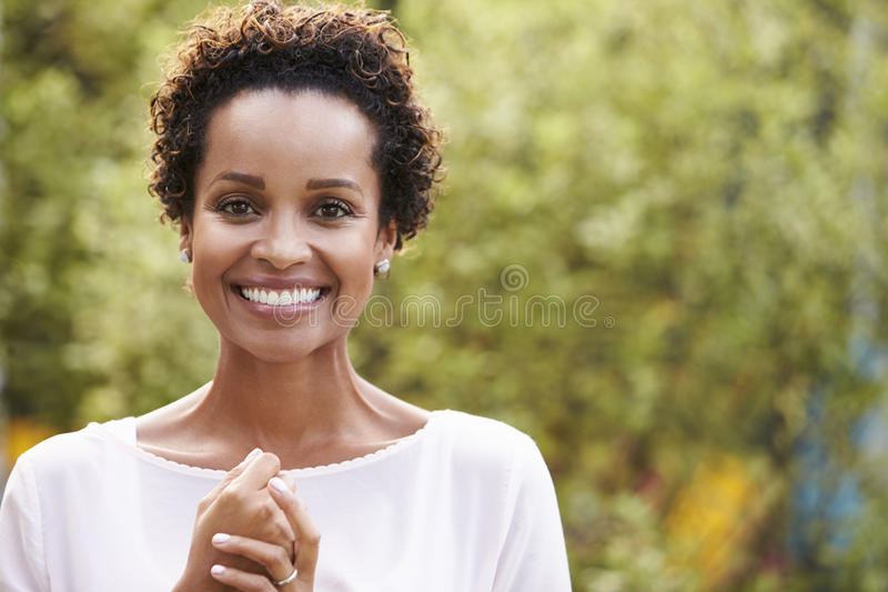 Portrait of young African American woman, horizontal stock images