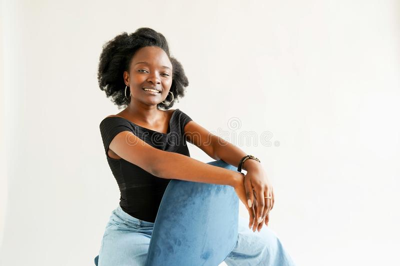 Portrait of young African American woman isolated over white background royalty free stock photos