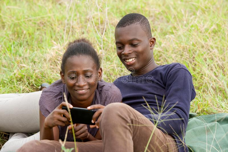 Portrait of young african couple, happy stock photos