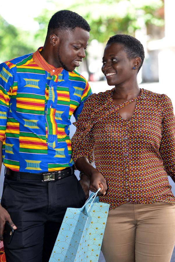 Portrait of young african couple, happy stock image