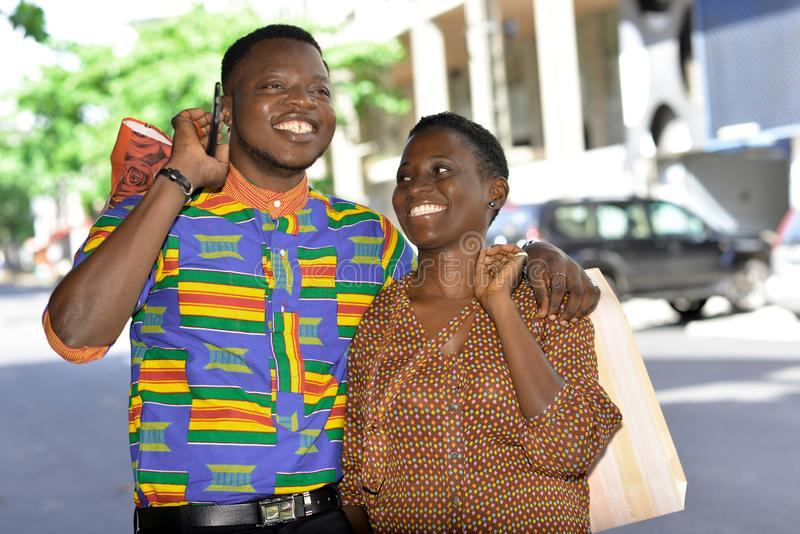 Portrait of young african couple, happy stock images