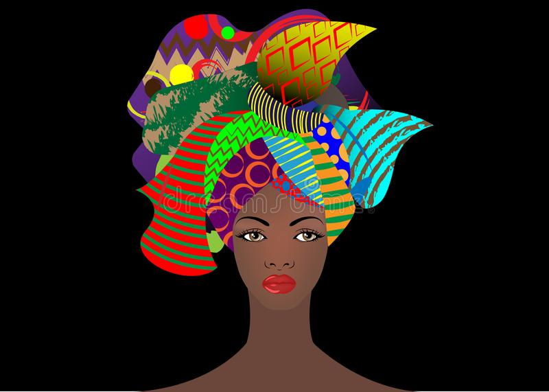 Portrait of the young African woman in a colorful turban. Wrap Afro fashion, Ankara, Kente, kitenge, African women dresses animal. Portrait of the young African stock illustration