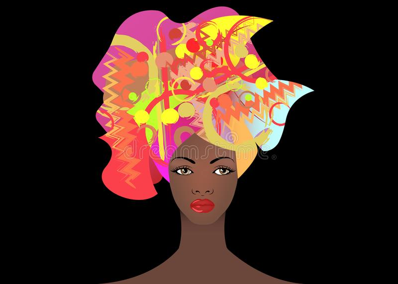 Portrait of the young African woman in a colorful turban. Wrap Afro fashion, Ankara, Kente, kitenge, African women dresses. vector illustration