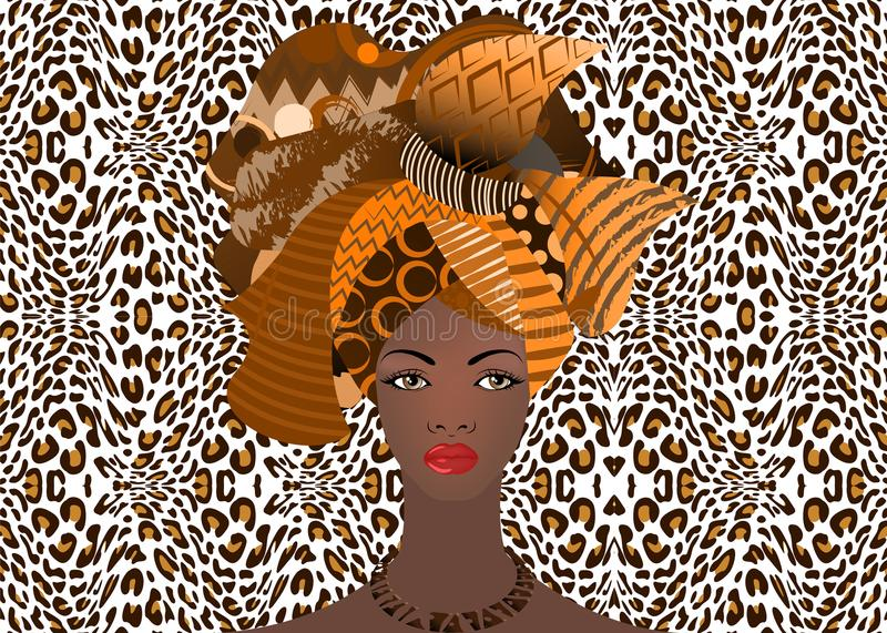 Portrait of the young African woman in a colorful turban. Wrap Afro fashion, Ankara, Kente, kitenge, African women dresses. Nigerian style, Ghanaian fashion stock illustration