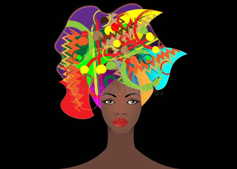 Portrait of the young African woman in a colorful turban. Wrap Afro fashion, Ankara, Kente, kitenge, African women dresses. Nigerian style, Ghanaian fashion royalty free illustration
