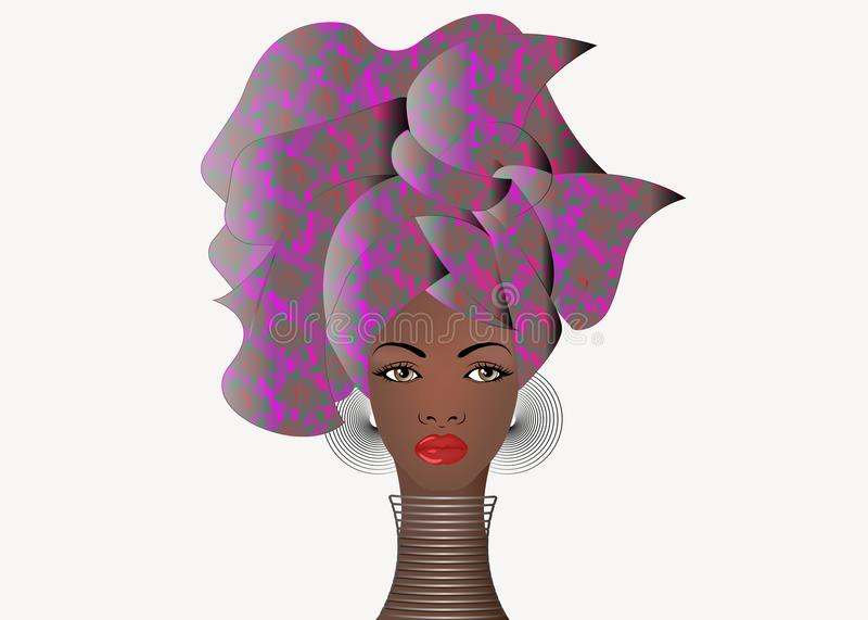Portrait of the young African woman in a colorful turban. Wrap Afro fashion, Ankara, Kente, kitenge, African women dresses. Portrait of the young African woman stock illustration