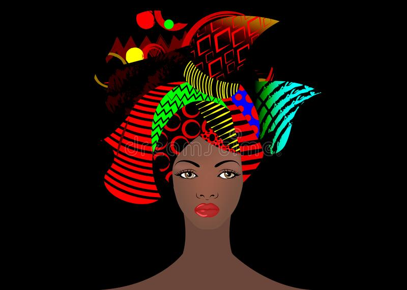 Portrait of the young African woman in a colorful turban. Wrap Afro fashion, Ankara, Kente, kitenge, African women dresses. royalty free illustration