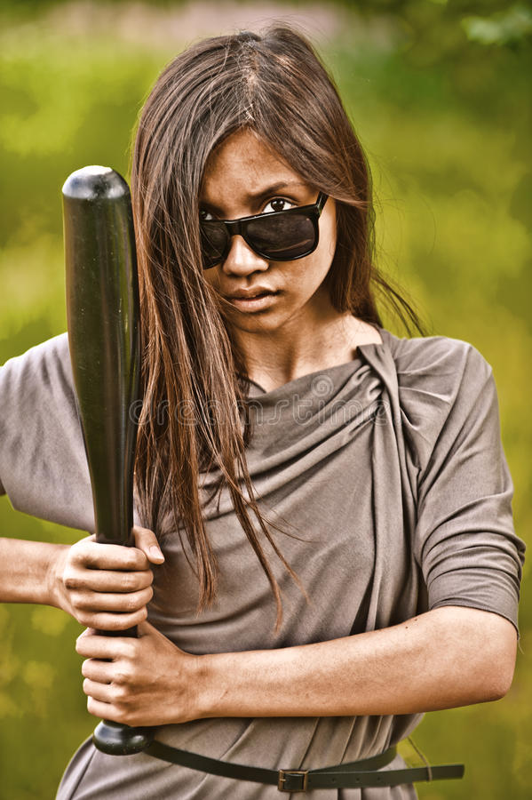 Portrait of young aggressive woman stock photography
