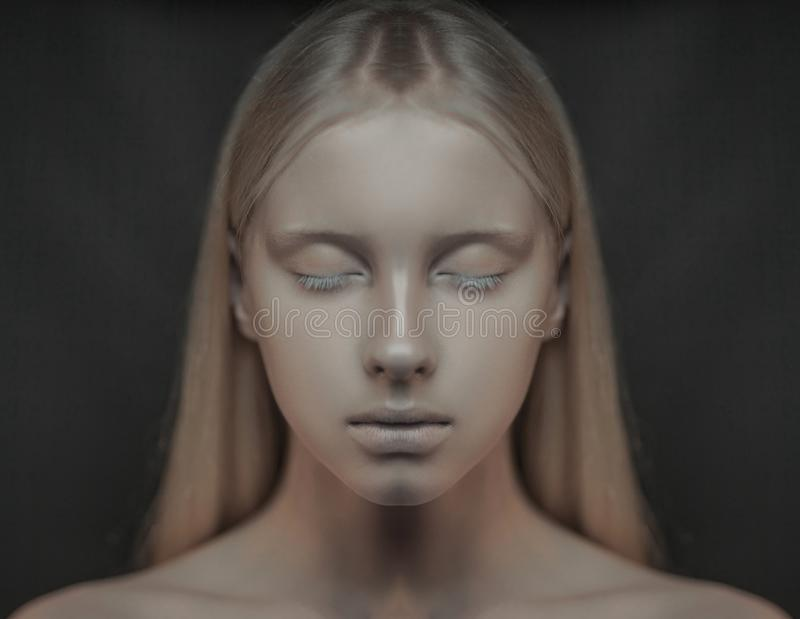 Portrait of young albino woman with closed eyes. royalty free stock photography