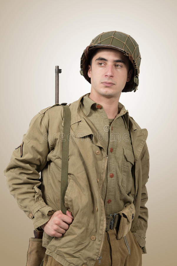 Portrait of young American soldier, ww2. Gi`s royalty free stock photo