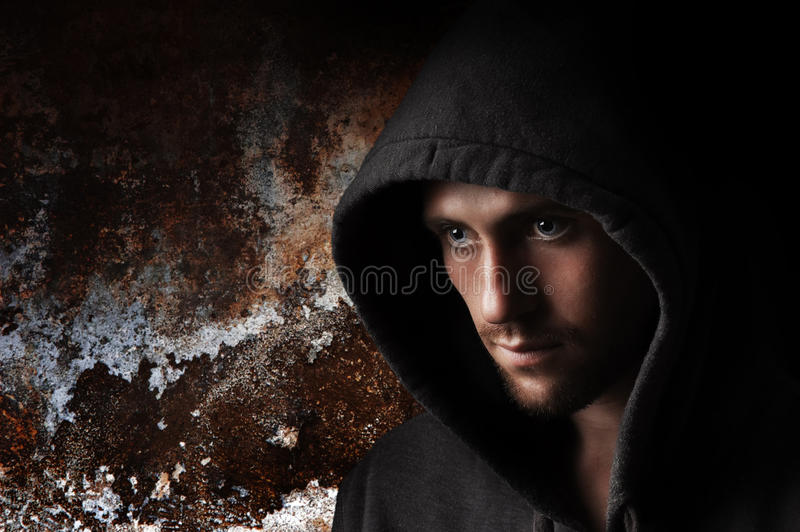 Portrait Of A Young Angry Man In The Hood Royalty Free Stock Photography