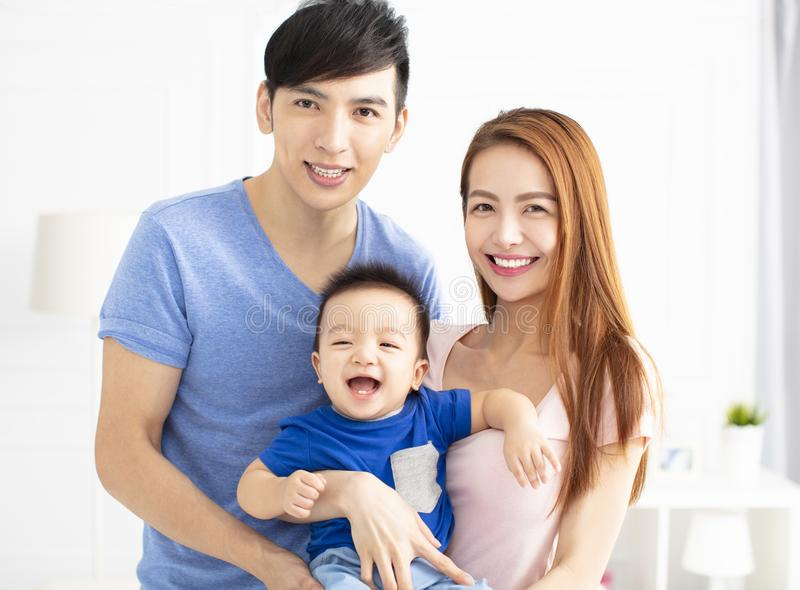 Young asian family with baby stock image