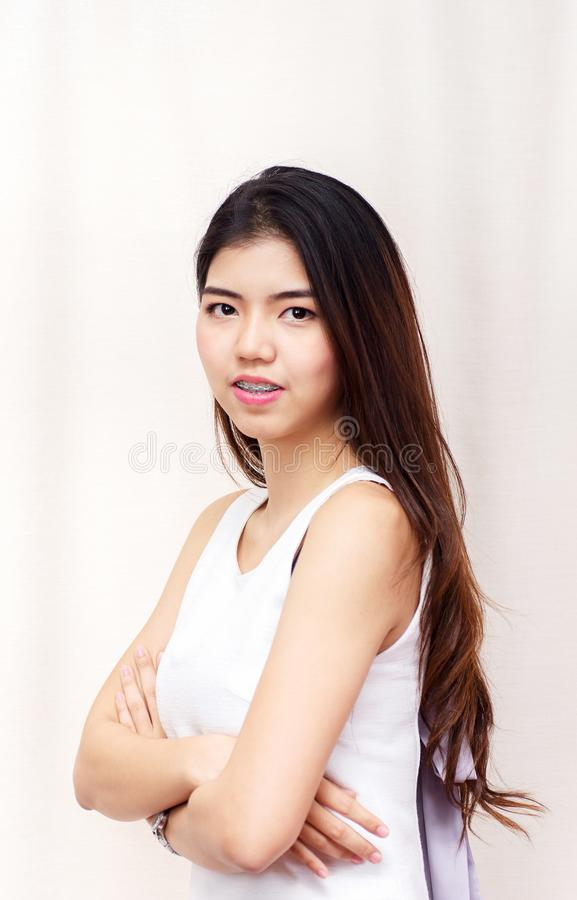Portrait young Asian pretty student woman smiling royalty free stock photos