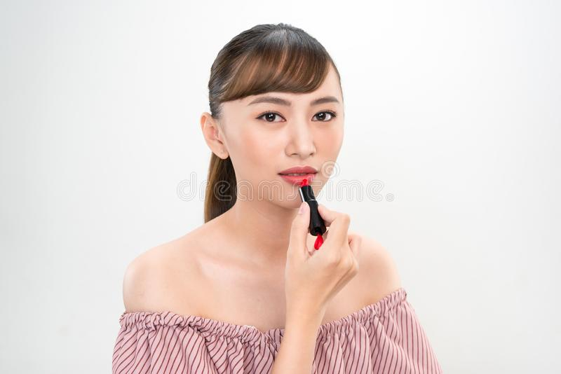 Portrait of young asian woman beauty image on white background stock images