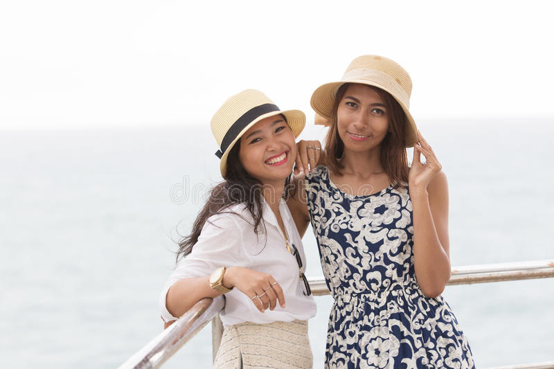 Portrait of young asian woman couples friend royalty free stock photography