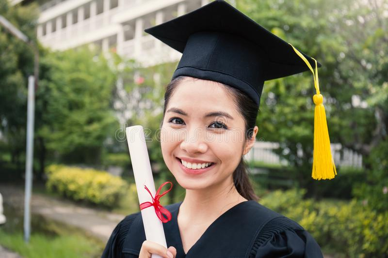 Portrait of young asian woman on her graduated day stock images