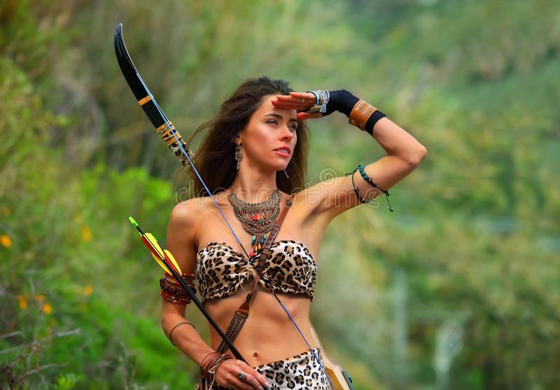 Portrait of a young attractive Amazon girl stock image
