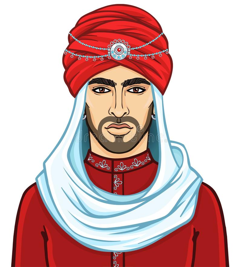 Portrait of the young attractive Arab man in a turban. The vector illustration isolated on a white background stock illustration