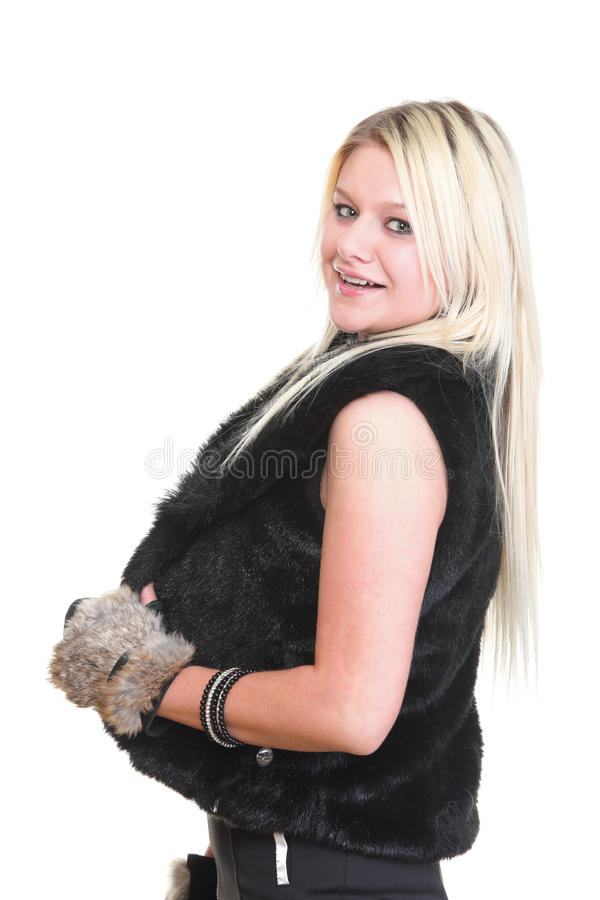 Portrait Of Young Attractive Fur Woman Stock Photos