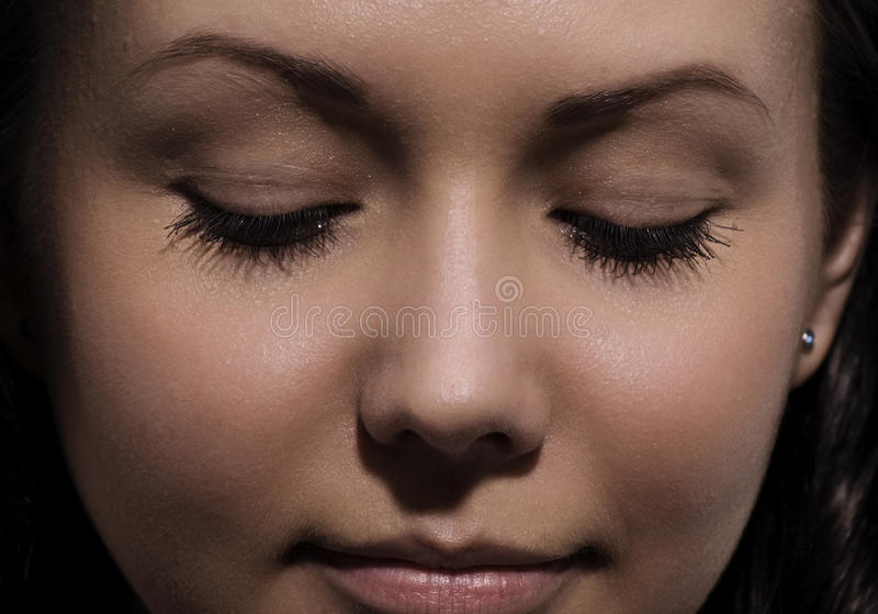 Portrait of the young attractive girl stock images
