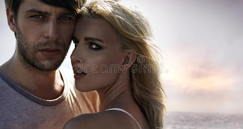 Portrait of young, attractive lovers stock photography