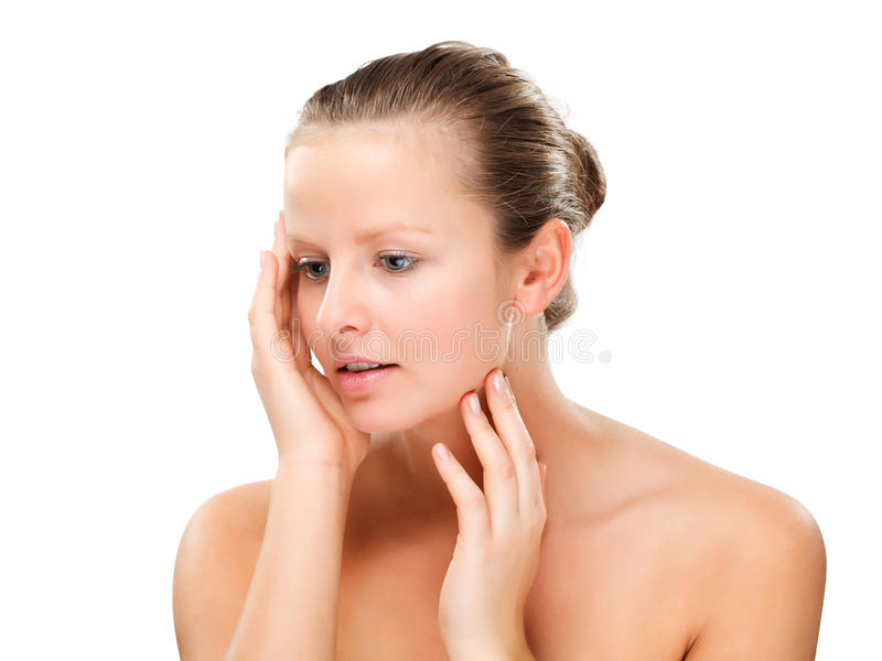 Woman massaging pain head royalty free stock image