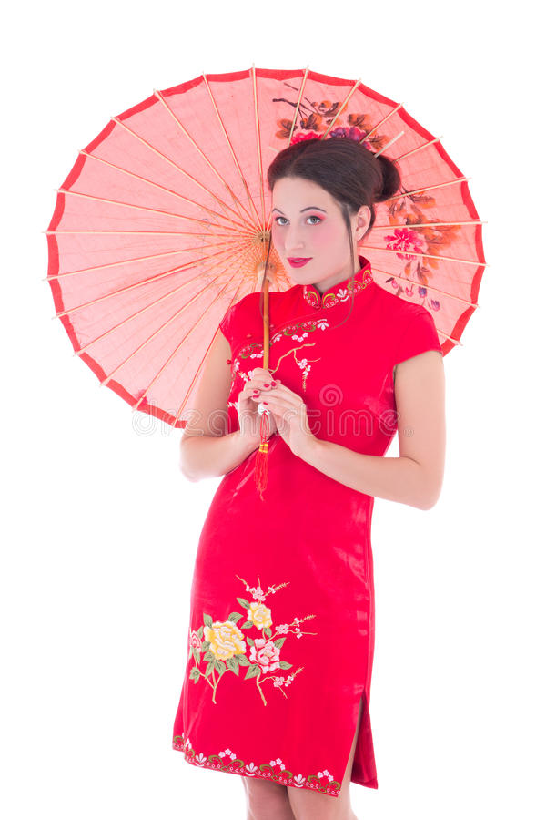 Download Portrait Of Young Attractive Woman In Red Japanese Dress With Um Stock Photo - Image: 33761648