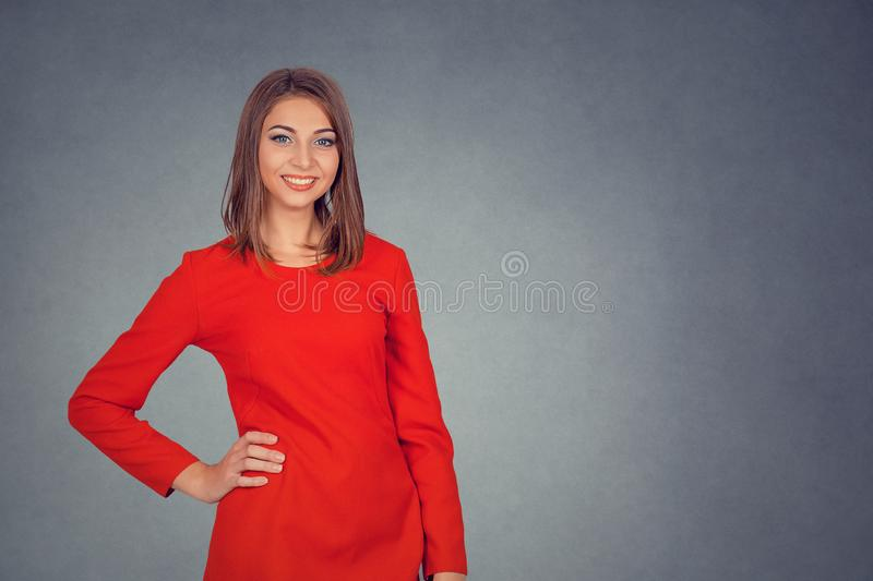 Portrait of young attractive woman smiling. royalty free stock photography